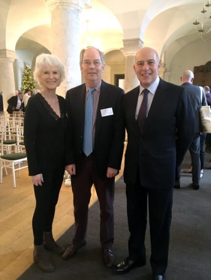 Sally and Michael with Loyd Grossman at the 2018 Heritage Alliance awards